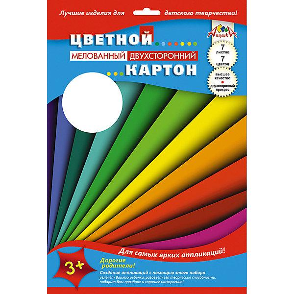 АппликА Цветной мелованный картон Апплика Цветные полосы 7 листов А4