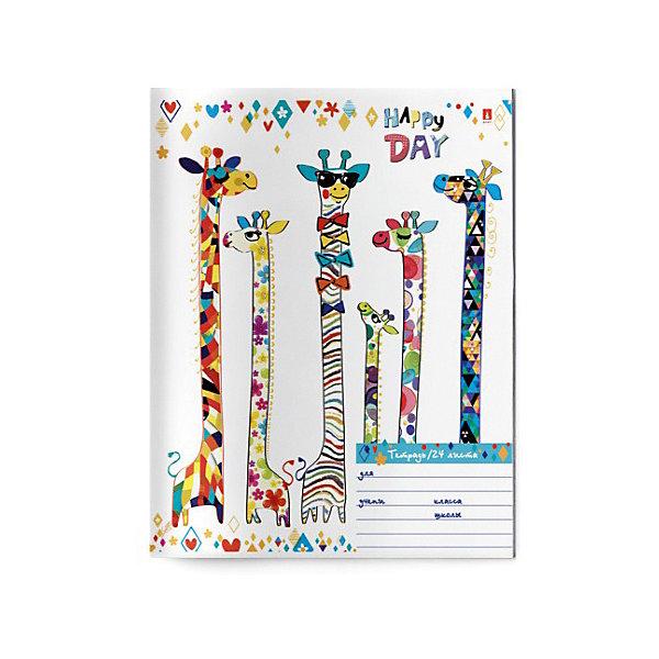 Купить Тетрадь Альт Счастливый день, 24 листа, клетка, 10 шт, Россия, Унисекс