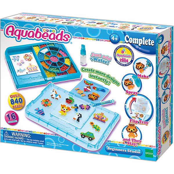 мозаика aquabeads набор бусин студия новичка Эпоха Чудес Игровой набор Aquabeads Студия новичка с формой-перевертышем, 840 бусин (аквамозаика)