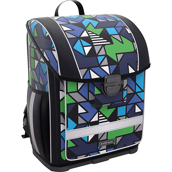 Купить Ученический ранец с пластиковым дном Erich Krause ErgoLine 16L Geometry, Россия, черный, Мужской