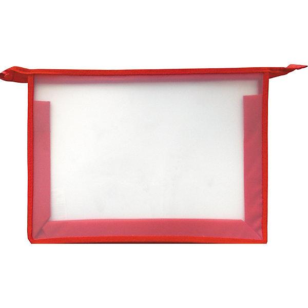 Купить Папка на молнии, ArtSpace, А4, прозрачная-красная, Россия, Унисекс