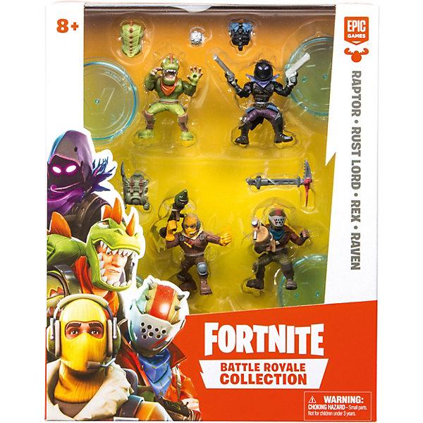 Moose Игровой набор Fortnite, 4 фигурки: Раптор, Повелитель ржавчины, Рекс, Ворон