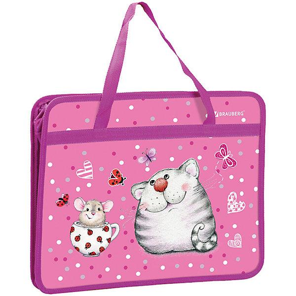 Brauberg Папка на молнии Brauberg Кошка и мышка, А4, с ручками, розовая