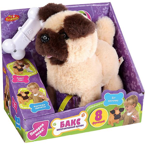 My Friends Игрушка MY FRIENDS Интерактивный щенок Бакс, 16 см, на батарейках, со светящейся косточкой