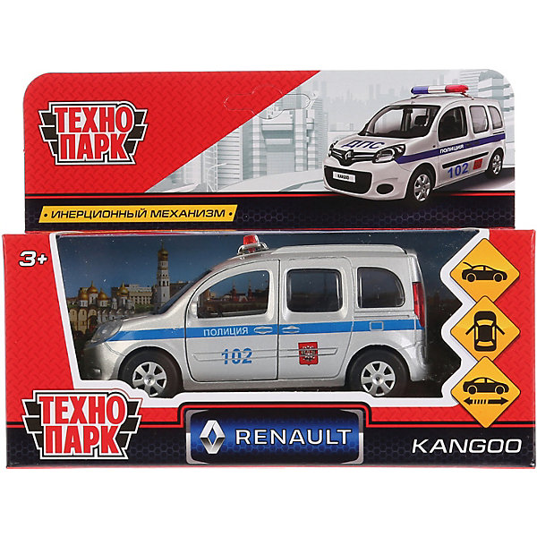 ТЕХНОПАРК Машинка Технопарк Renault Kangoo полиция, инерционная, 12 см