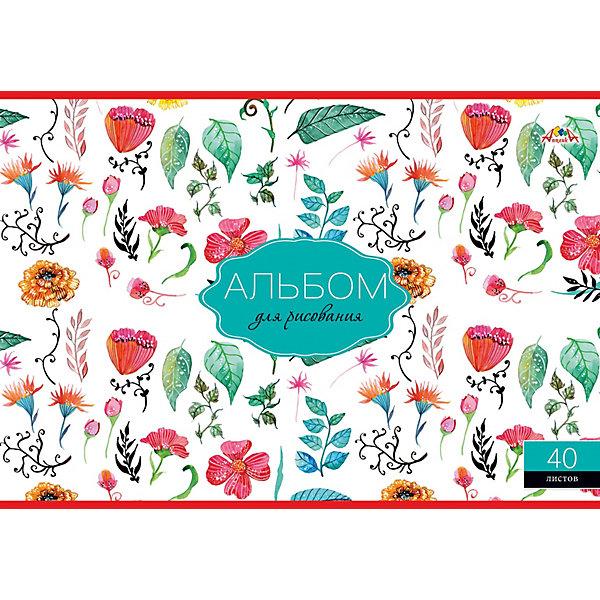 АппликА Альбом для рисования Апплика Цветочный принт, 40 листов принт winter а4