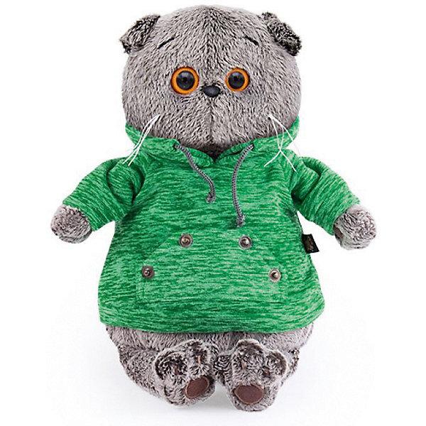 Budi Basa Мягкая игрушка Budi Basa Кот Басик в зеленой толстовке с карманом-кенгуру, 19 см