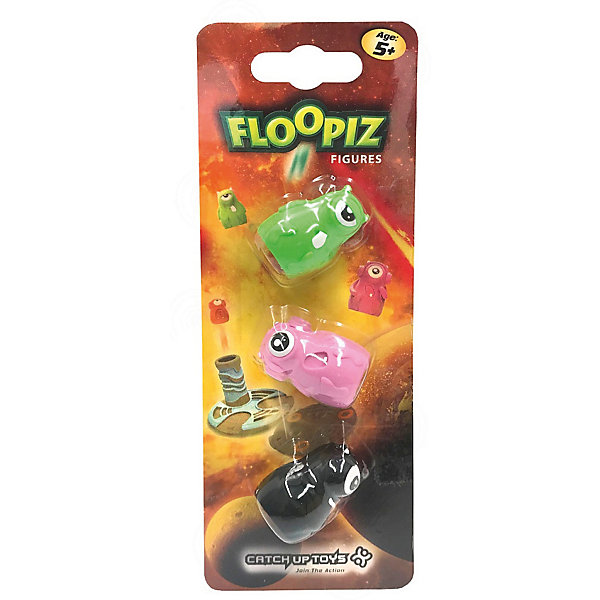 Catchup Toys Дополнительный набор CATCHUP TOYS Floopiz Figures, black, pink, green