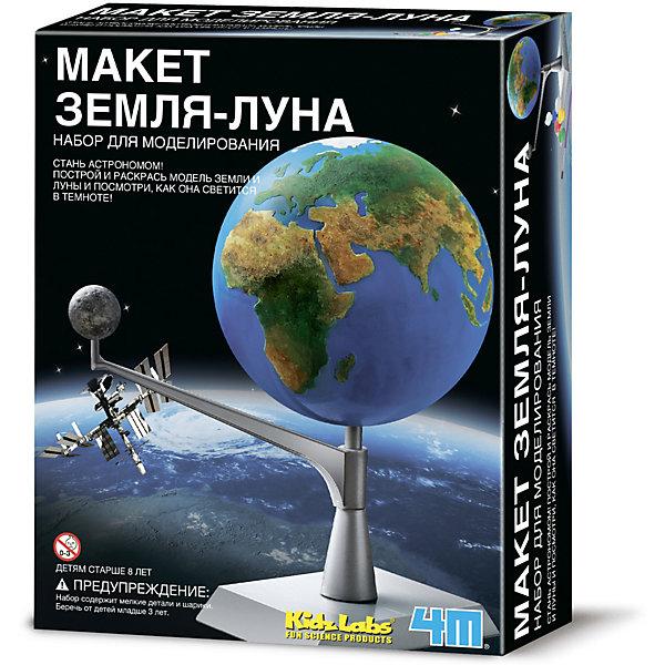 4M Набор для сборки и раскрашивания KidzLabs Макет Земля-Луна