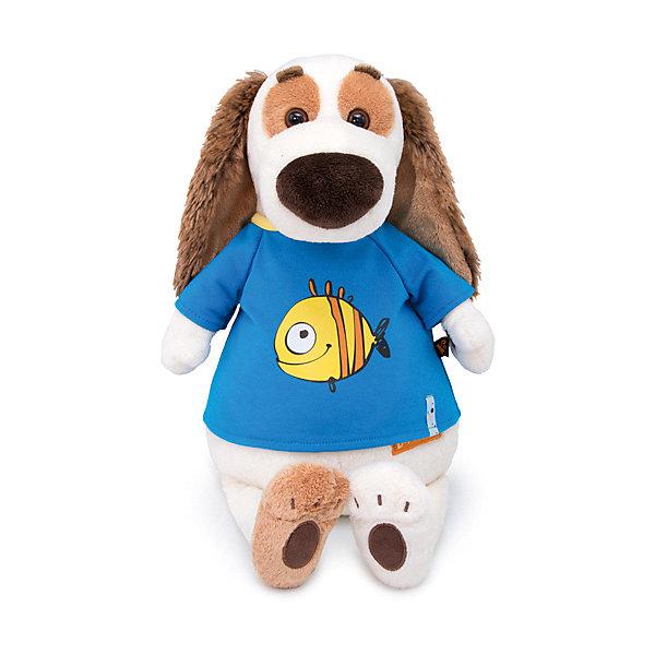 Мягкая игрушка Budi Basa Собака Бартоломей в футболке с принтом Рыбка, 27 см 12408924