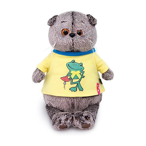Мягкая игрушка Budi Basa Кот Басик в футболке с принтом Лягушонок, 19 см 12408926
