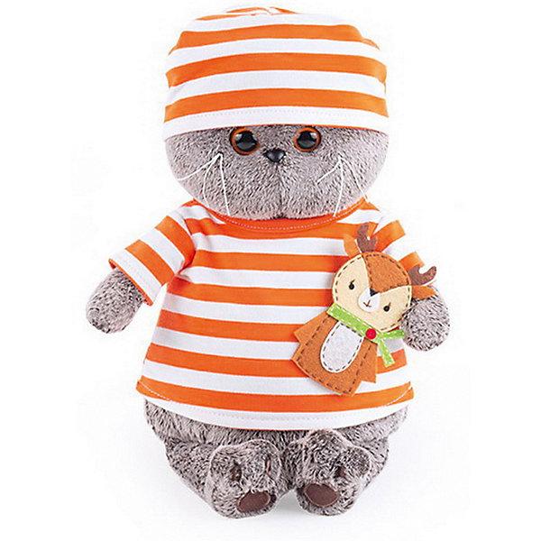 Мягкая игрушка Budi Basa Кот Басик в полосатой футболке с олененком, 22 см 12408940