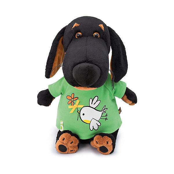 Мягкая игрушка Budi Basa Собака Ваксон в футболке с принтом Птичка цветочком, 25 см 12408950