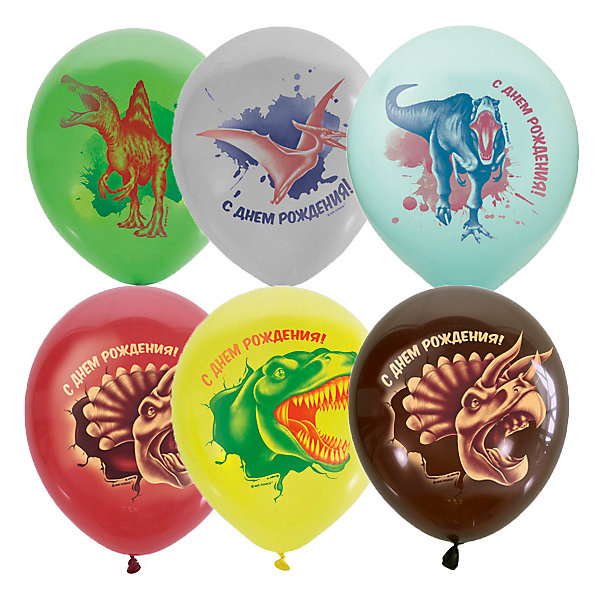 Globos Payaso Воздушные шары Macaroons, с днем рождения, динозавры, 25 шт, ассорти