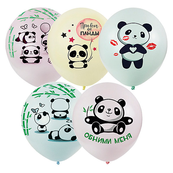 Globos Payaso Воздушные шары Macaroons, панды, 25 шт, ассорти