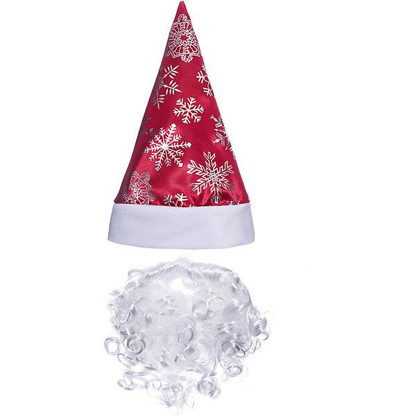 Jeanees Колпак с бородой Новогодний, красный