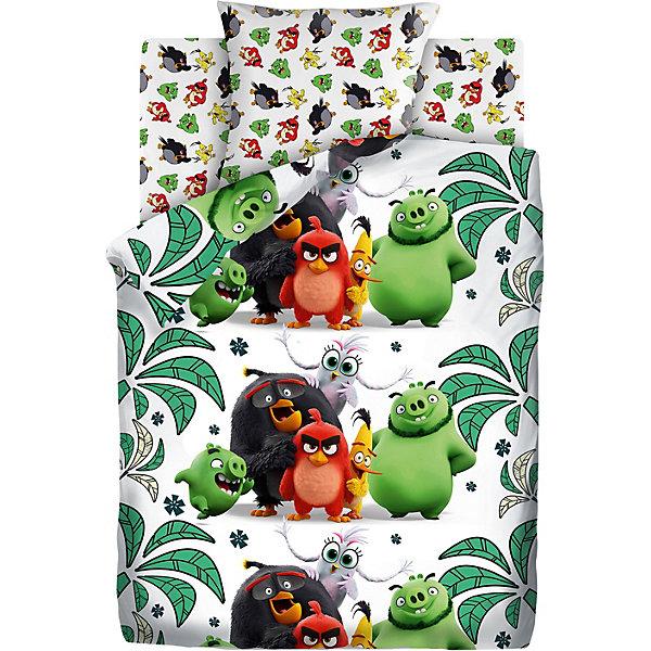 """Картинка для Детское постельное белье 1,5 сп Angry Birds 2 """"Птичий остров"""", зеленое"""