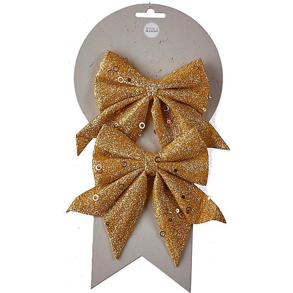 House of Seasons Новогоднее украшение séans Бант , 2 шт, золотой