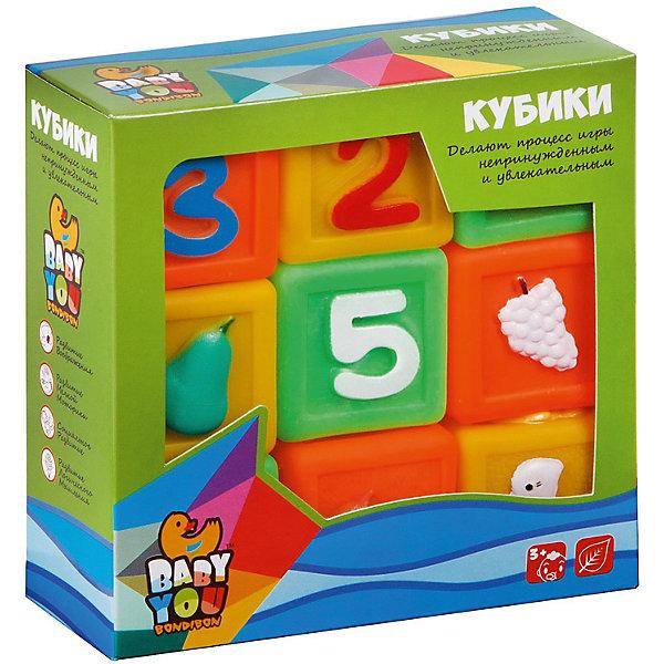 """Картинка для Набор кубиков для купания Bondibon Baby You """"Цифры, Фрукты, Животные"""", 9 шт"""