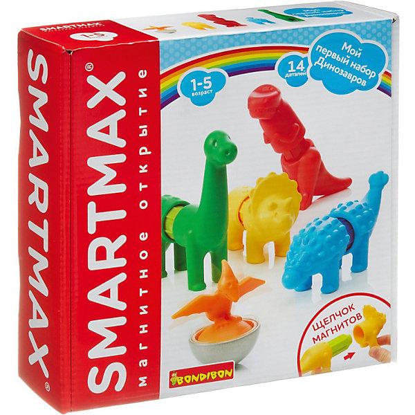 Bondibon Магнитный конструктор SmartMax Мой первый набор динозавров, 14 деталей