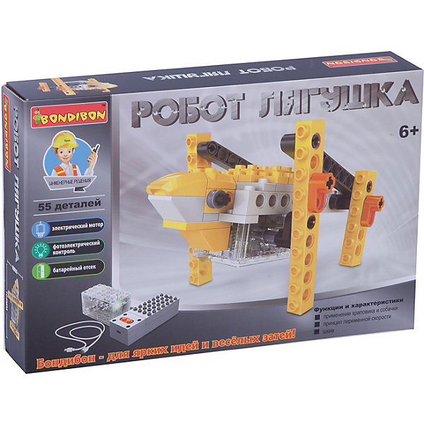 Bondibon Конструктор Bondibon Робот-лягушка, 55 деталей bondibon робот и самолет 2 в 1 111 деталей разноцветный
