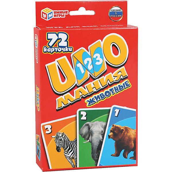Умка Развивающие карточки Умные игры Уномания животные карточки животные 100 развивающих заданий