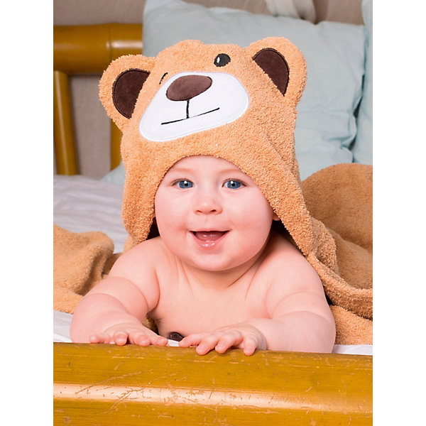 Купить Полотенце с капюшоном BabyBunny, Россия, бежевый, one size, Унисекс
