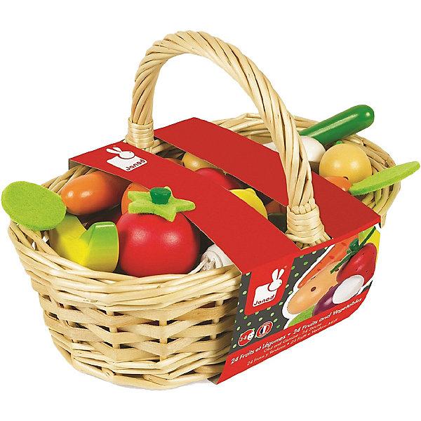 Janod Игровой набор Janod Овощи и фрукты в корзинке игровой набор red box овощи фрукты 22220 1