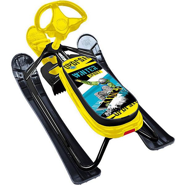 Купить Снегокат Nika Ника кросс Winter sport, чёрный каркас, Nika-Kids, Россия, Унисекс