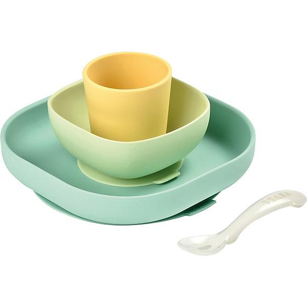 BÉABA Набор посуды Beaba Silicone Meal Set, зеленый цена