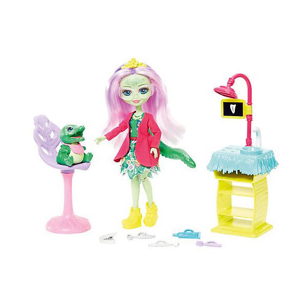 Фото - Mattel Игровой набор Enchantimals Кабинет стоматолога с Энди Аллигатор mattel набор с мини куклой enchantimals весёлая пекарня петти пиг 15 см