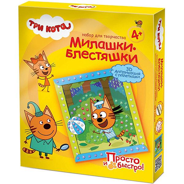 - Набор для творчества Три кота Объемная аппликация, Коржик, лето, с пайетками