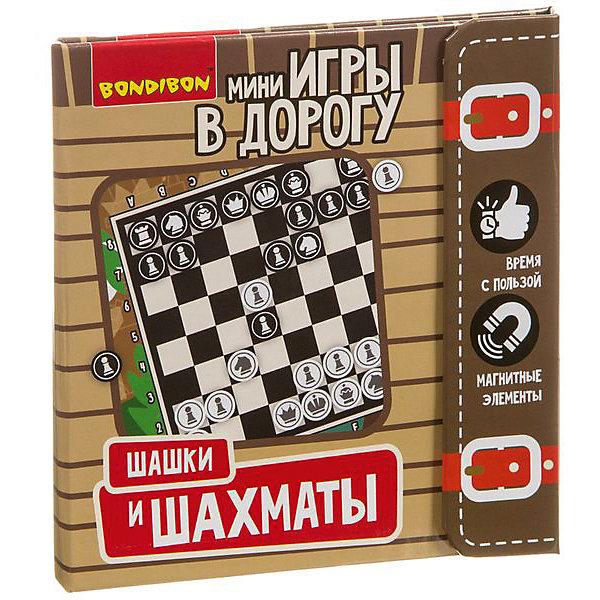 Bondibon Развивающая дорожная игра Шашки и шахматы