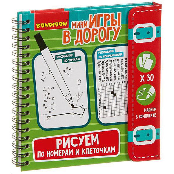 Bondibon Развивающая дорожная игра Рисуем по номерам и клеточкам