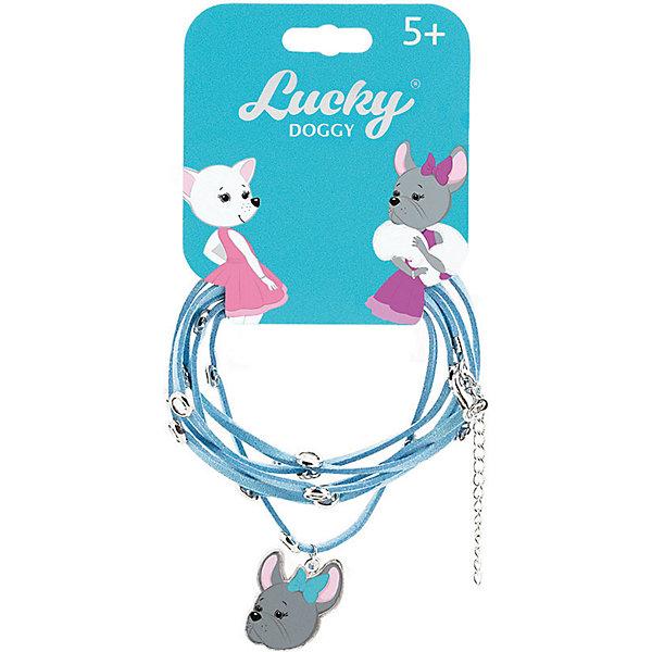 Купить Кожаный браслет Orange Lucky Doggy, с Бульдогом, Китай, бирюзовый, Унисекс