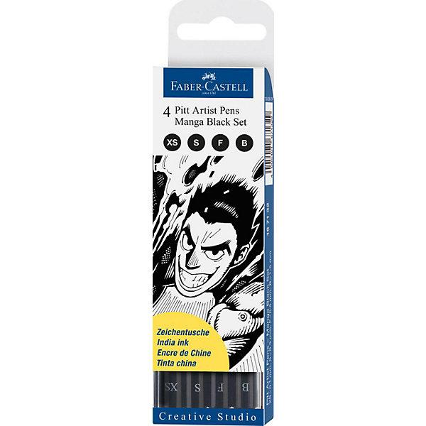 Faber-Castell Набор капиллярных ручек Faber-Castell Pitt Artist Pen Manga Black set, 4 шт, черные