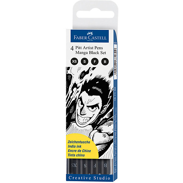 Faber-Castell Набор капиллярных ручек Faber-Castell Pitt Artist Pen Manga Black set, 4 шт, черные faber castell капиллярная ручка multimark s для письма на пленке 4 цвета