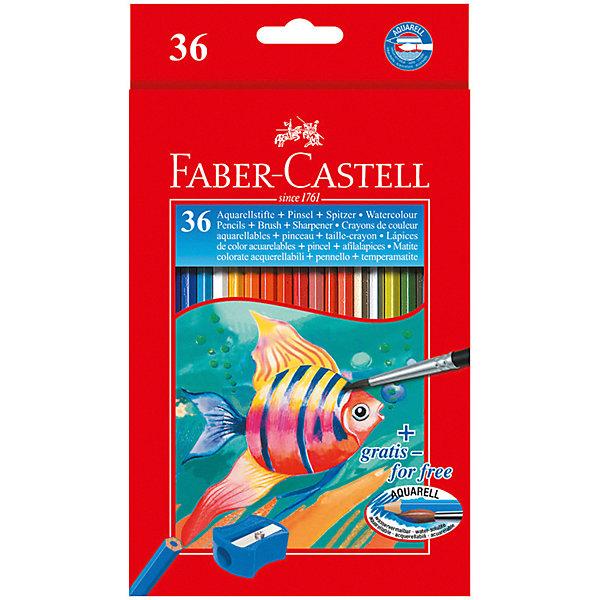 Faber-Castell Карандаши акварельные Faber-Castell, 36 цветов + кисть кисть faber castell water brush синтетика круглая короткая ручка с резервуаром белый зеленый