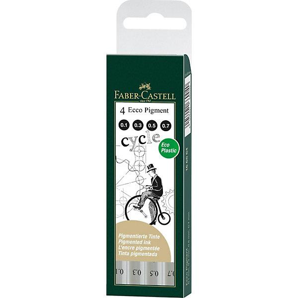 Faber-Castell Набор капиллярных ручек Ecco Pigment, 4 шт, черные