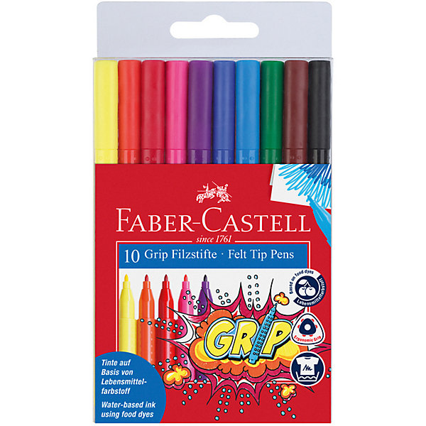 фломастеры faber castell connector 60цв смываемые соединяемые колпачки пластик уп европодв Faber-Castell Фломастеры Faber-Castell Grip, 10 цветов, смываемые