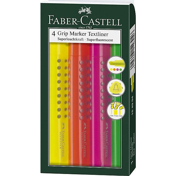 Купить Набор текстовыделителей Faber-Castell Grip 1543, 4 цвета, Германия, разноцветный, Унисекс