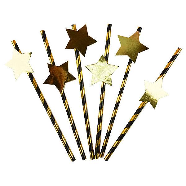 Патибум Комплект трубочек для напитков Патибум, с золотой звездой