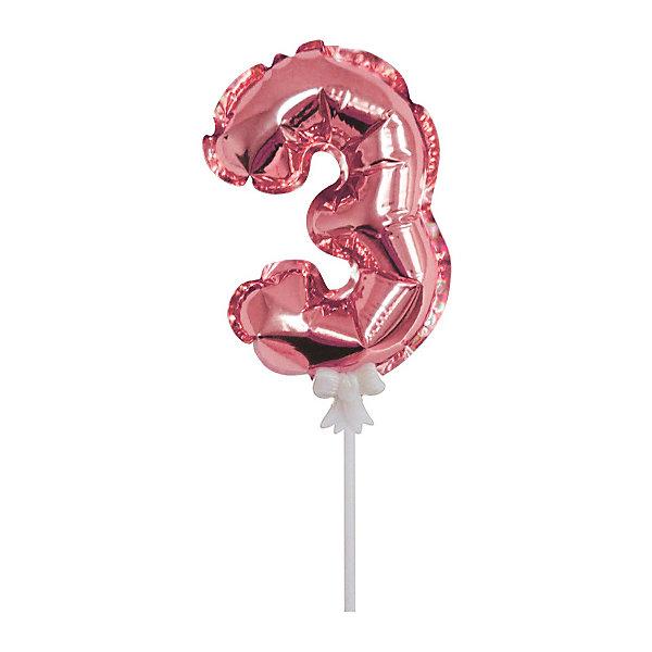 Патибум Самонадувной шарик Патибум, Цифра 3: Rose Gold, 18 см