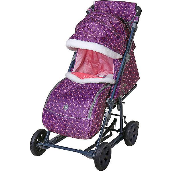 Купить Санки-коляска Nika Ника детям 8-1К , сливовые с фламинго, Nika-Kids, Россия, фиолетовый, Унисекс