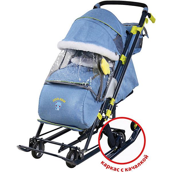 Купить Санки-коляска Nika Ника детям 7-7 , синие в джинсовом стиле, Nika-Kids, Россия, синий, Мужской