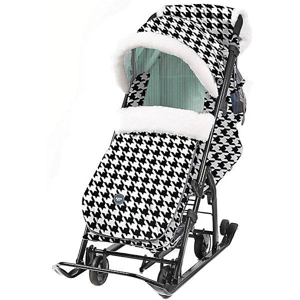 Nika-Kids Санки-коляска Nika Ника детям 7-5, чёрно-белые с мятным, гусиная лапка
