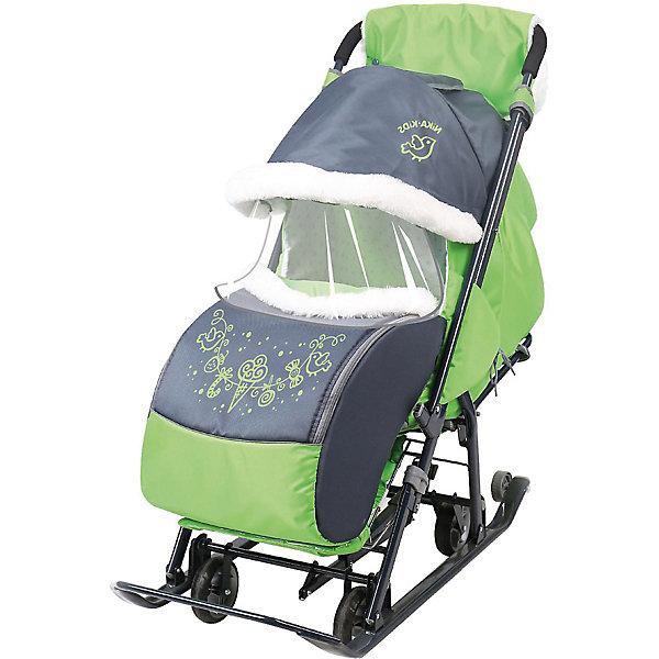 Купить Санки-коляска Nika Ника детям 7-1 , серые с зелёным, Nika-Kids, Россия, grau/grün, Унисекс
