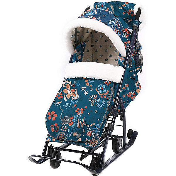 Nika-Kids Санки-коляска Nika Ника детям 7-5, цветочный тёмный