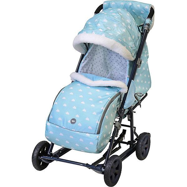Купить Санки-коляска Nika Ника детям 8-1К , голубые с облачками, Nika-Kids, Россия, голубой, Мужской