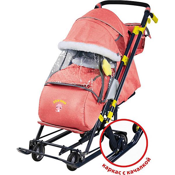 Купить Санки-коляска Nika Ника детям 7-7 , красные в джинсовом стиле, Nika-Kids, Россия, красный, Унисекс
